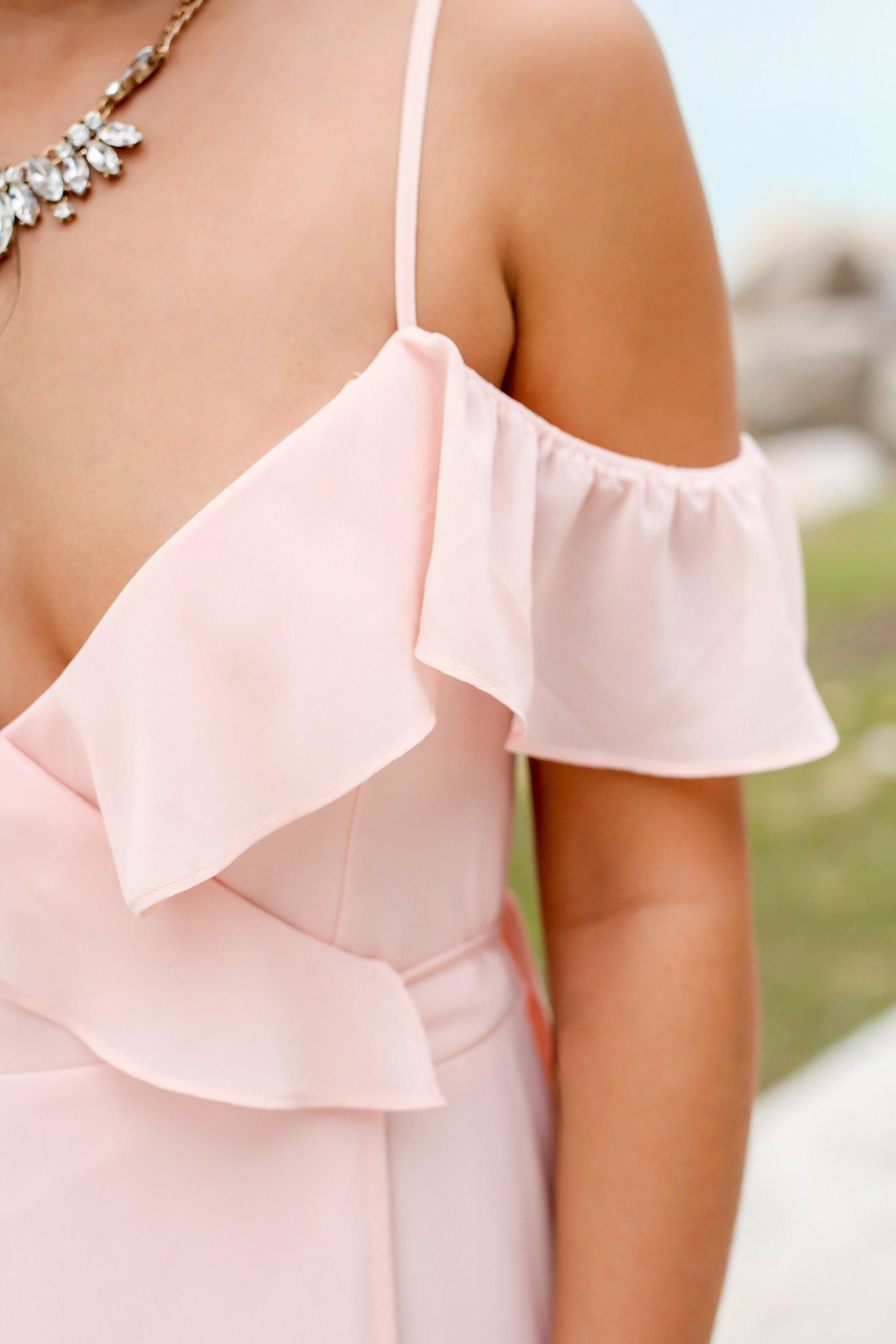 Blush Wrap Dress with Ruffle Top