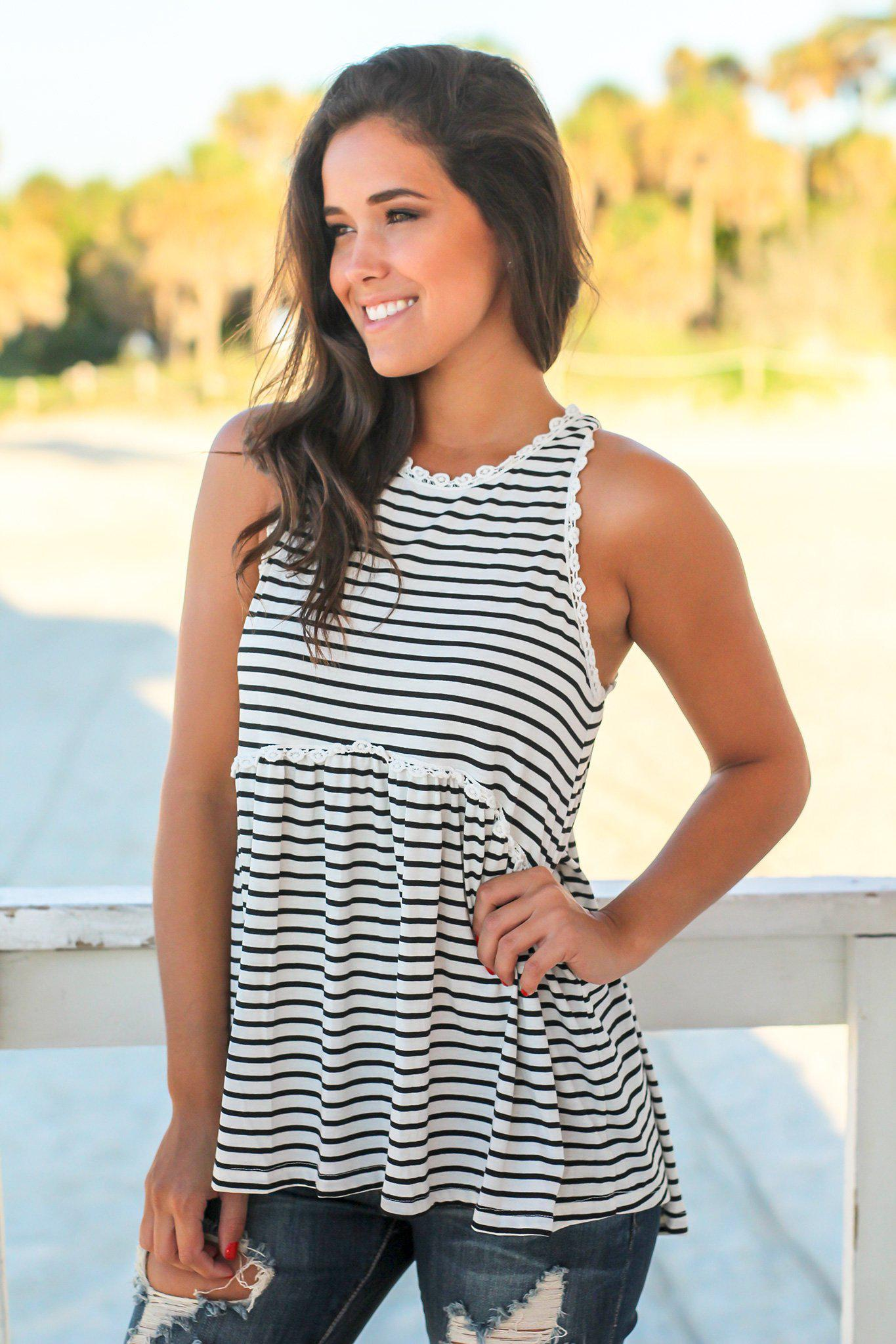 345c22330dbc1 Black and White Striped Babydoll Top with Back Zipper