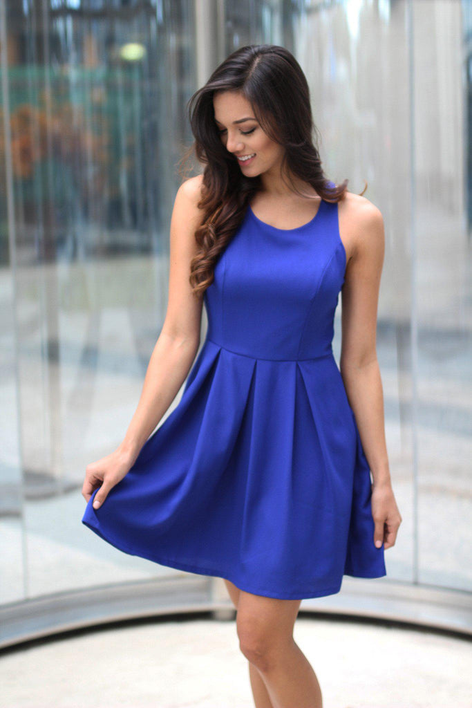 royal blue short dress with open back