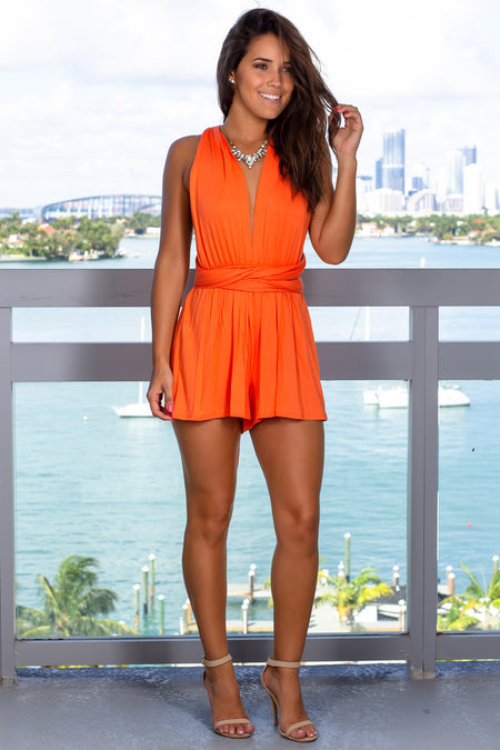 Orange Halter Neck Romper
