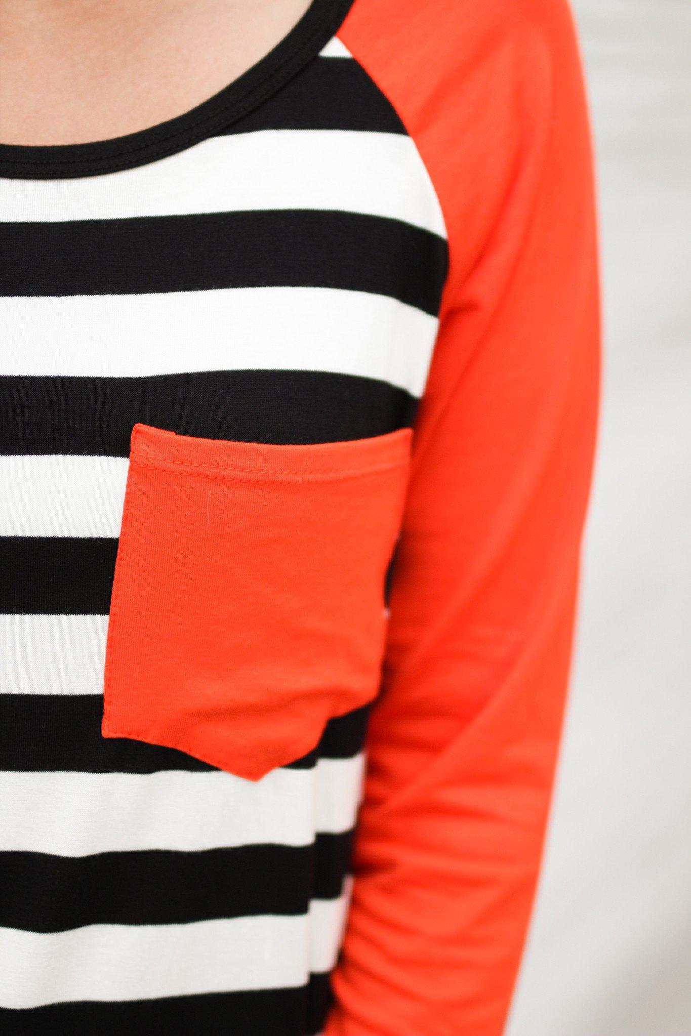Orange and Black Striped Top with Pocket