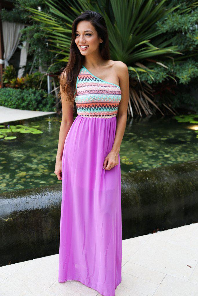 Orchid Maxi Dress With One Shoulder Top