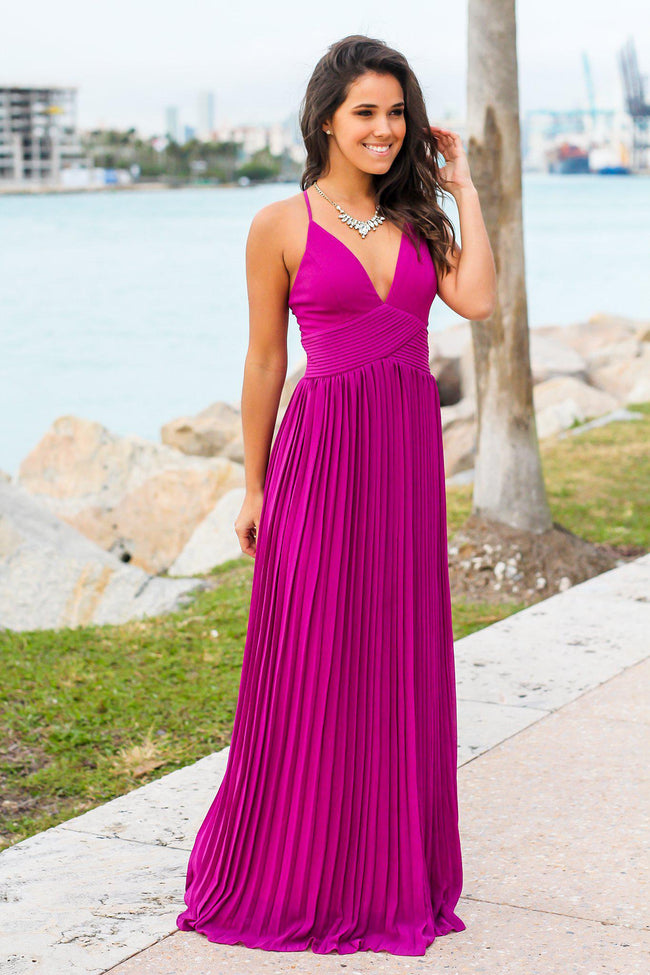 Orchid Pleated Maxi Dress with Criss Cross Back