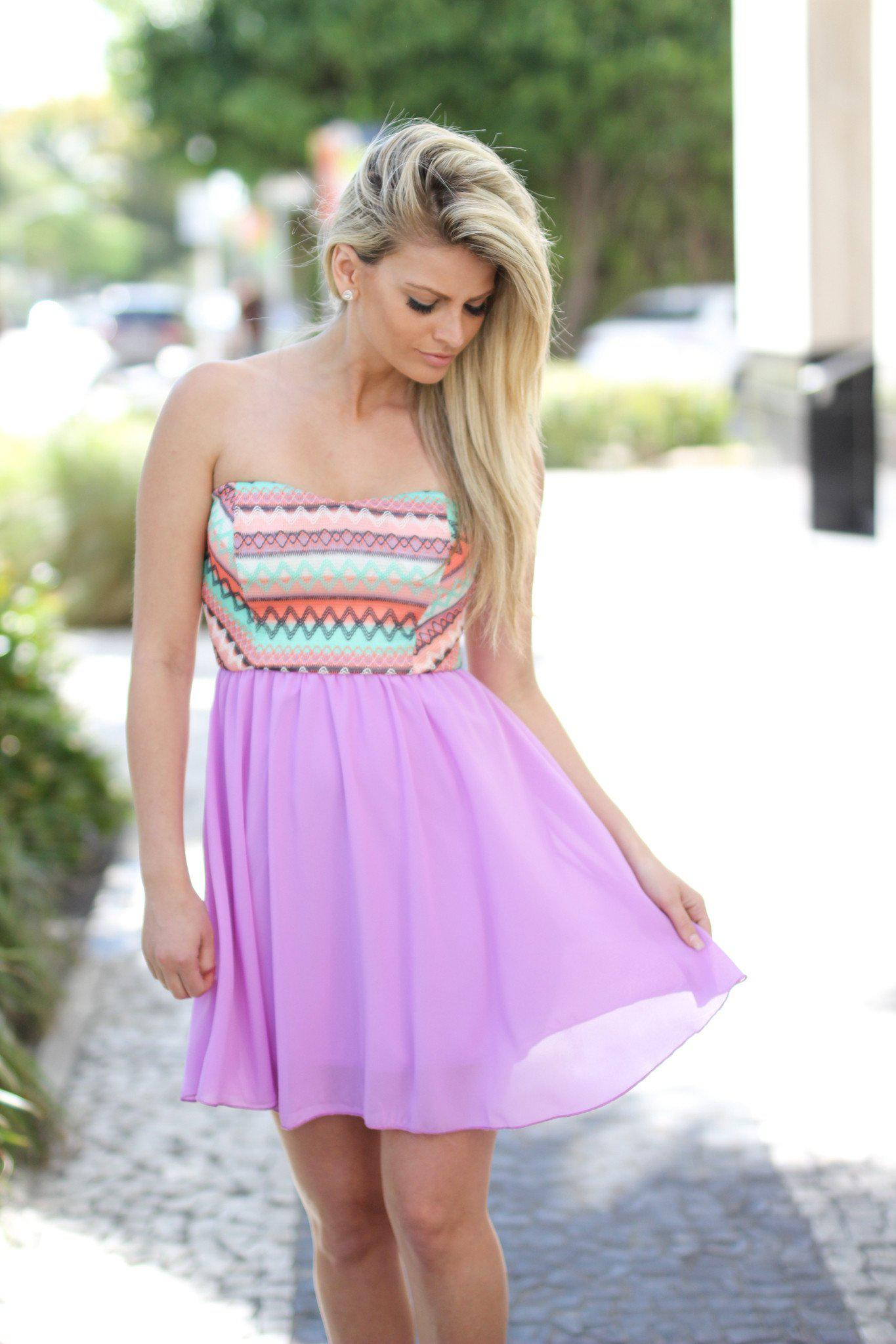 Orchid and Peach Short Dress