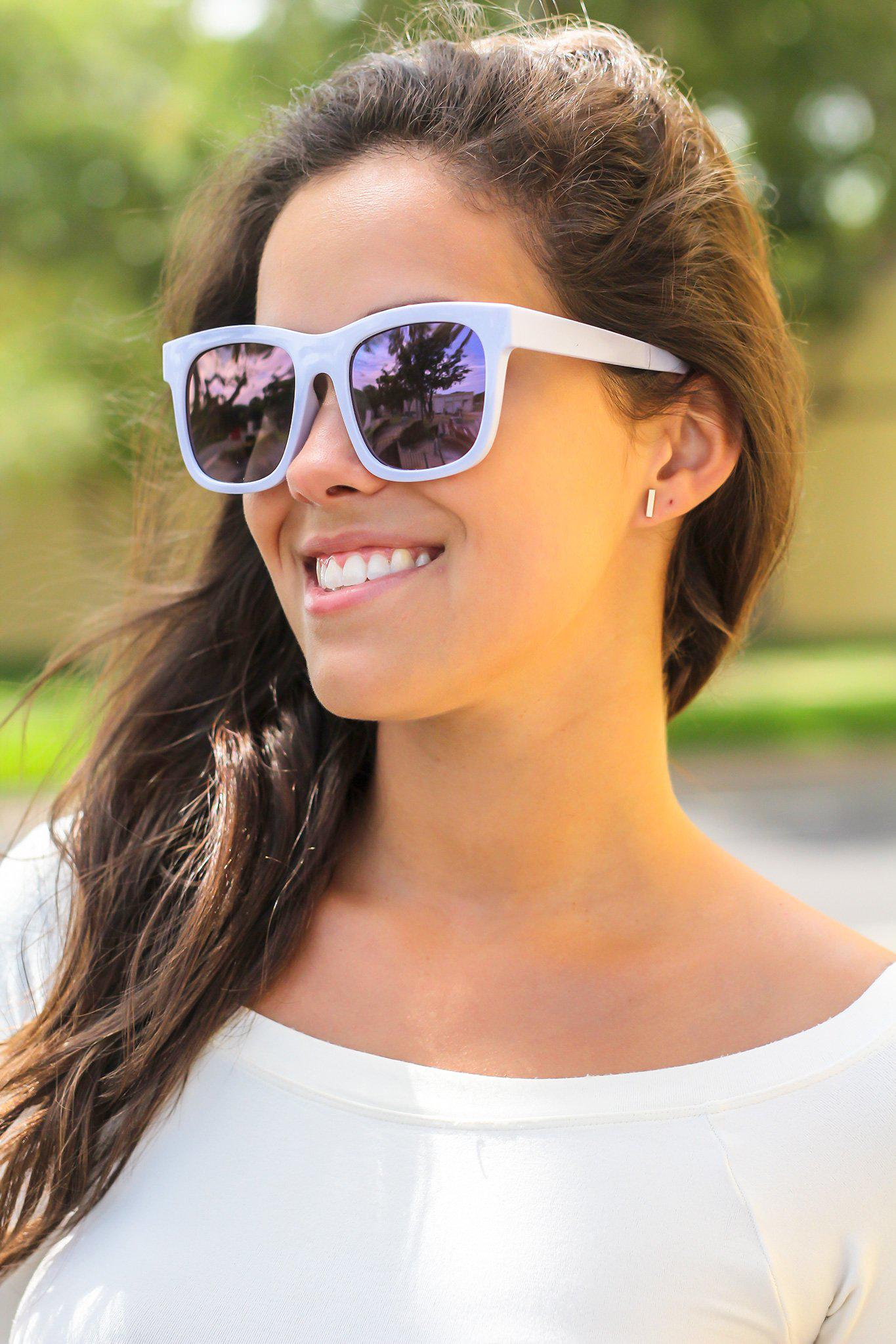 Pale Blue Sunglasses with Black Lenses