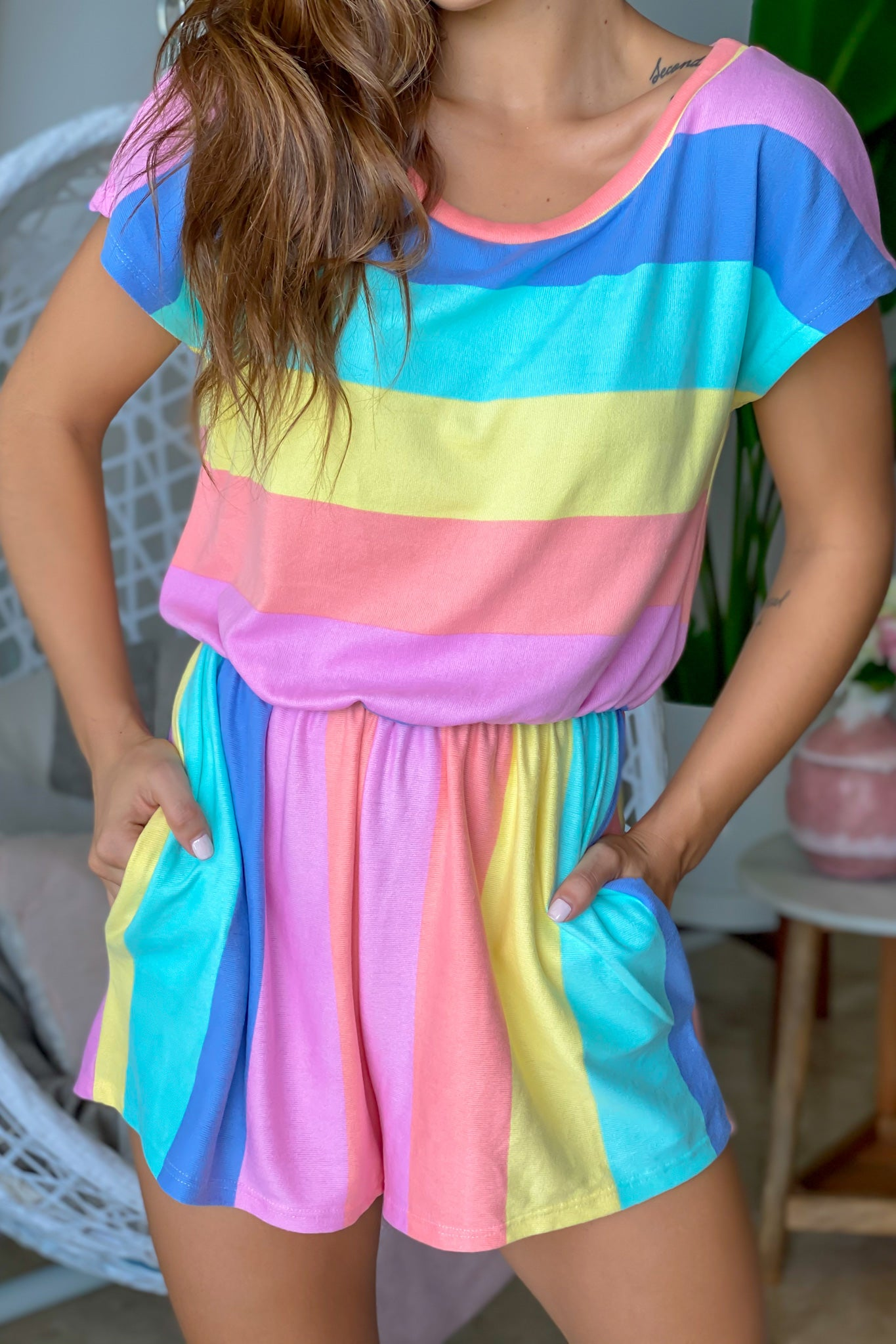 Pastel Multi Colored Romper