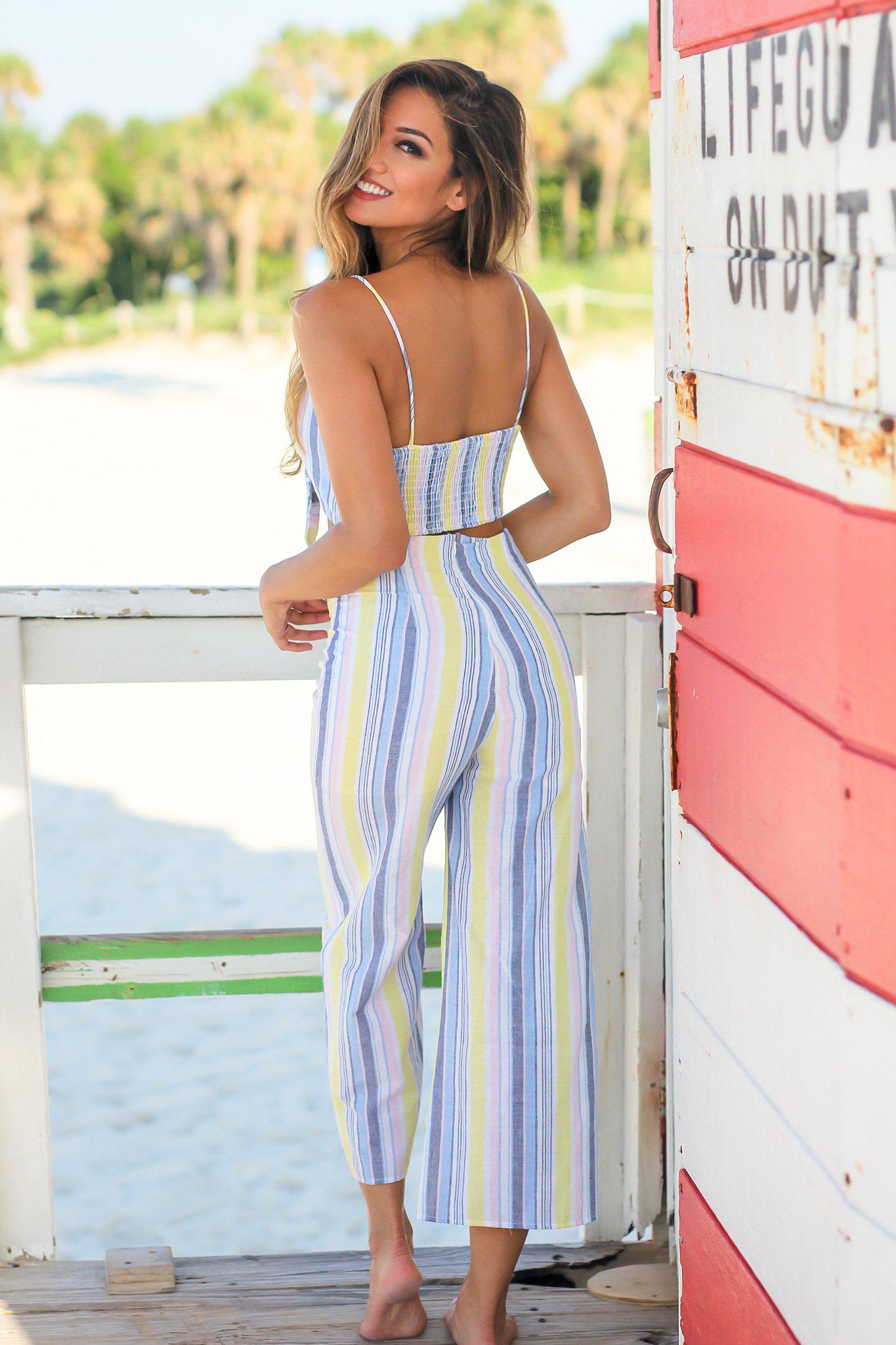 Pastel Yellow Striped Two Piece Set