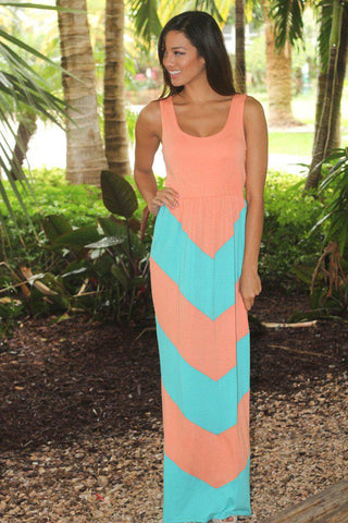 Peach And Aqua Chevron Maxi Dress
