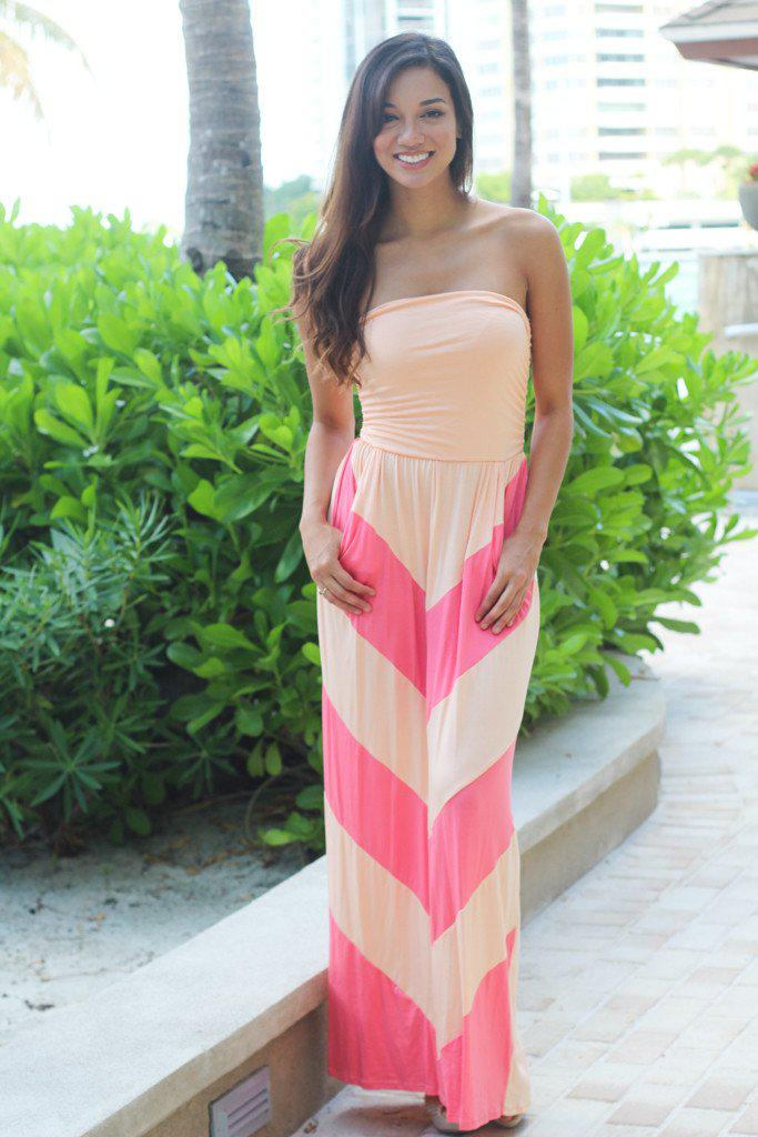 Peach And Pink Chevron Maxi Dress With Pockets