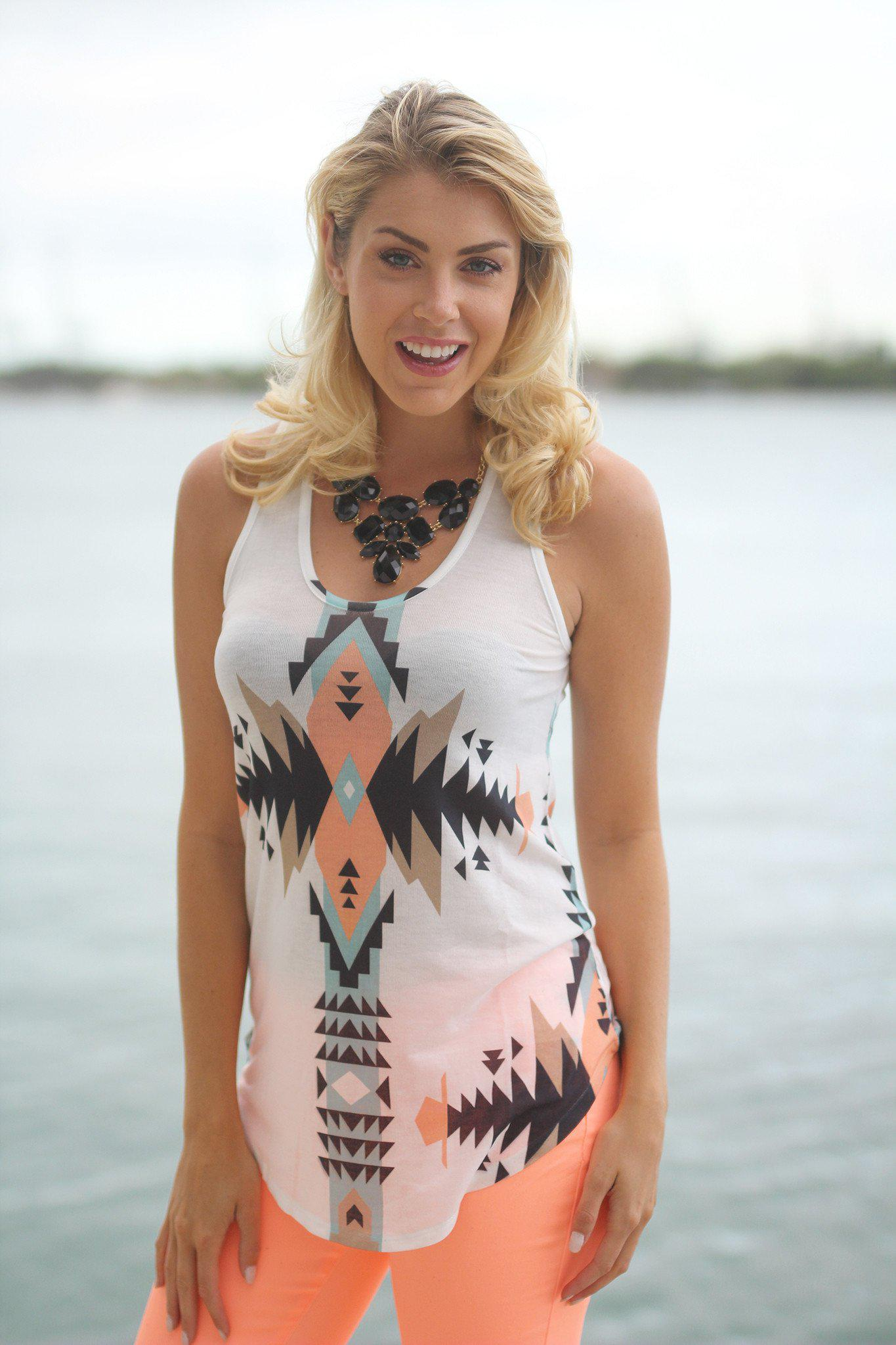 Peach Aztec Print Tank Top