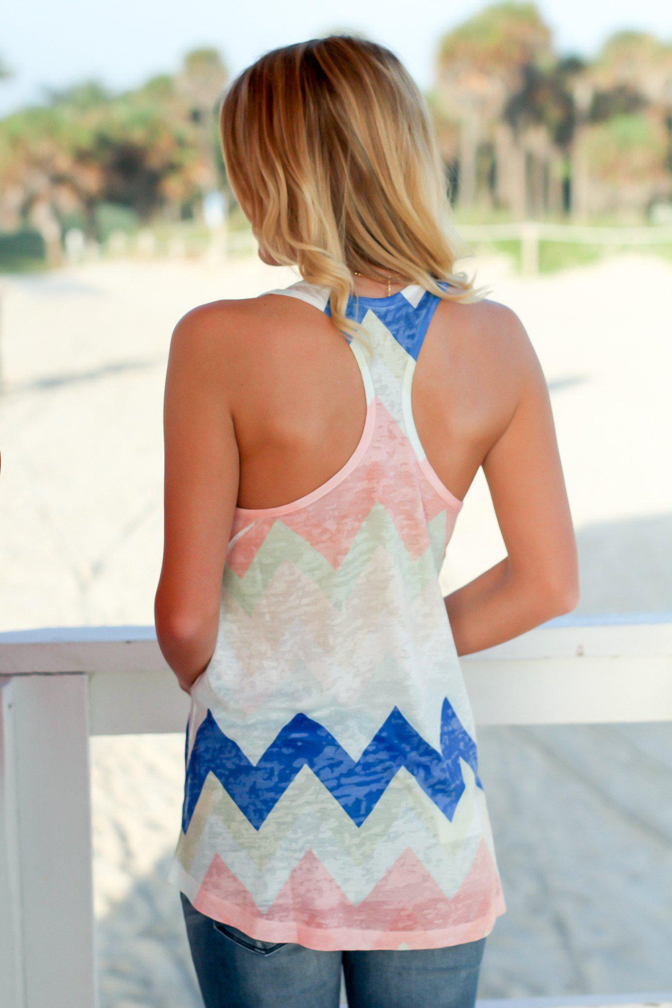 Peach Chevron Top