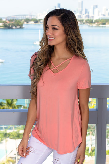 Peach Criss Cross Top with Short Sleeves