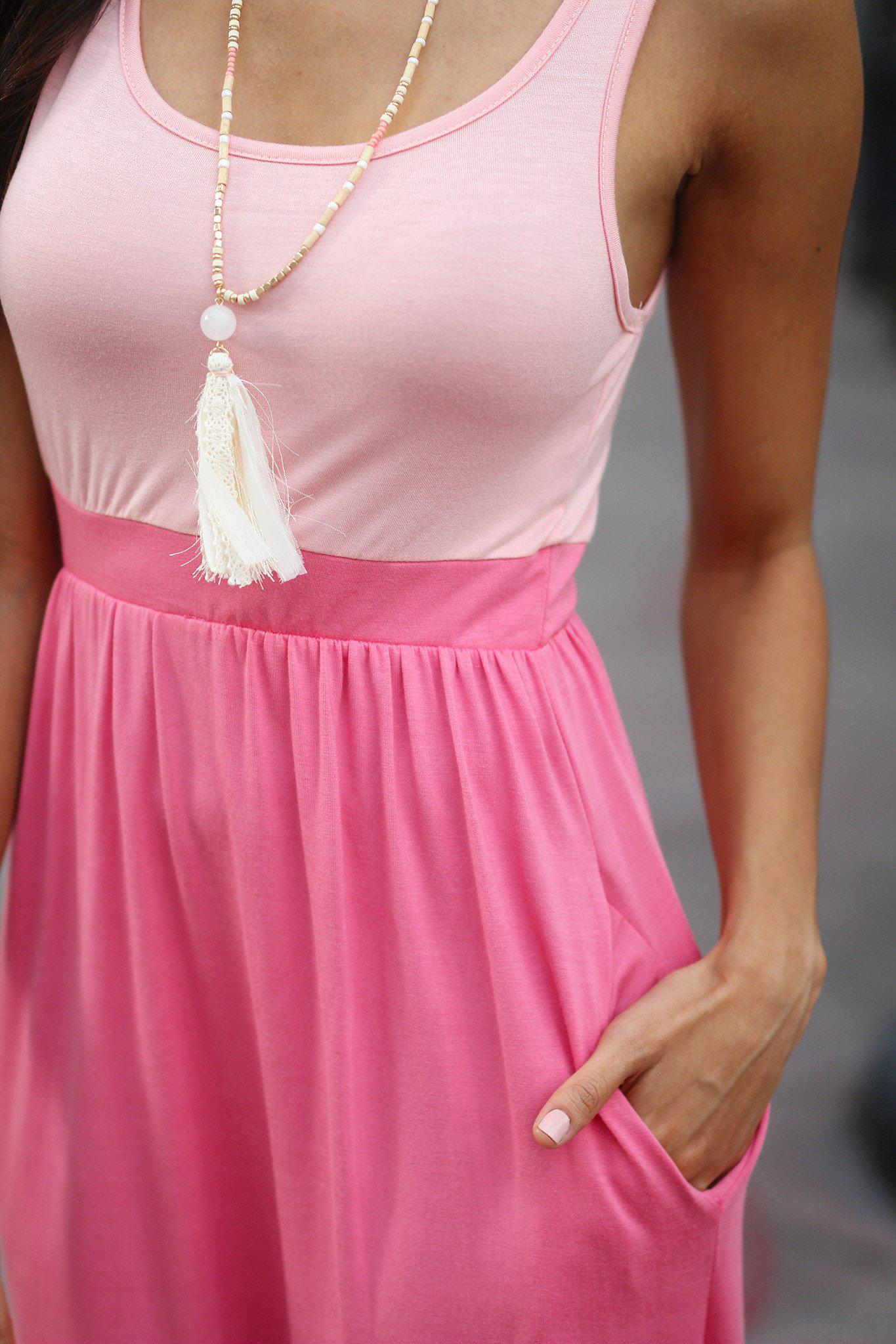 Peach and Coral Maxi Dress with Pockets