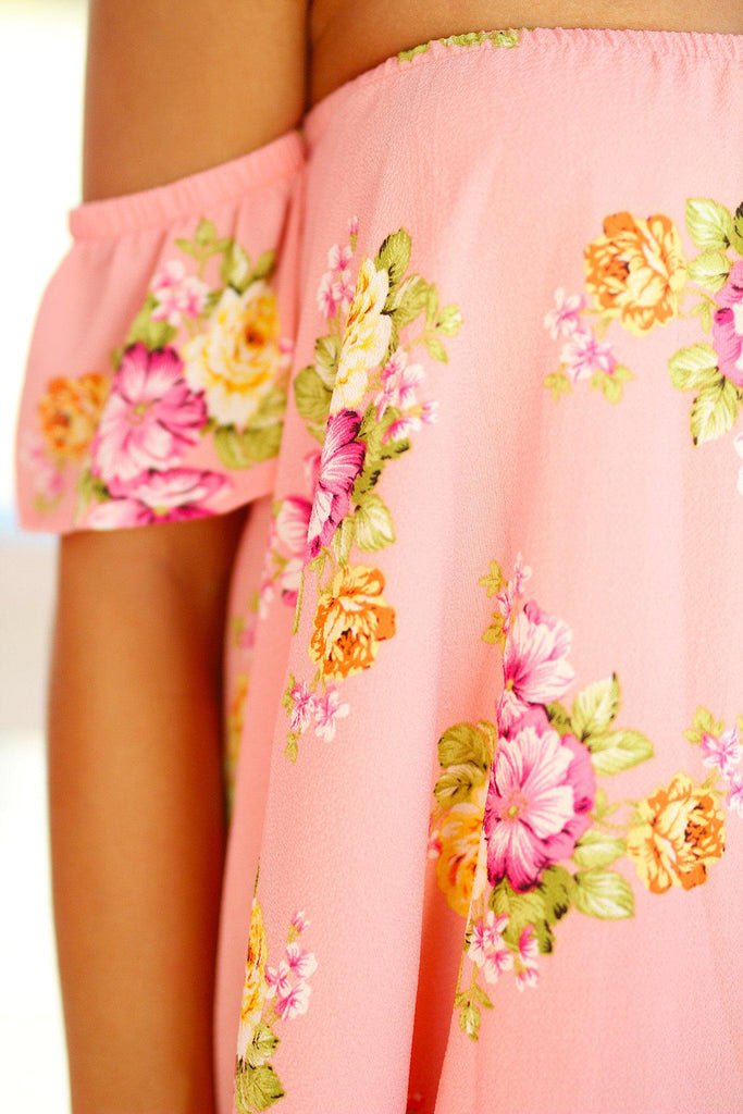 Peach Off Shoulder Floral Top