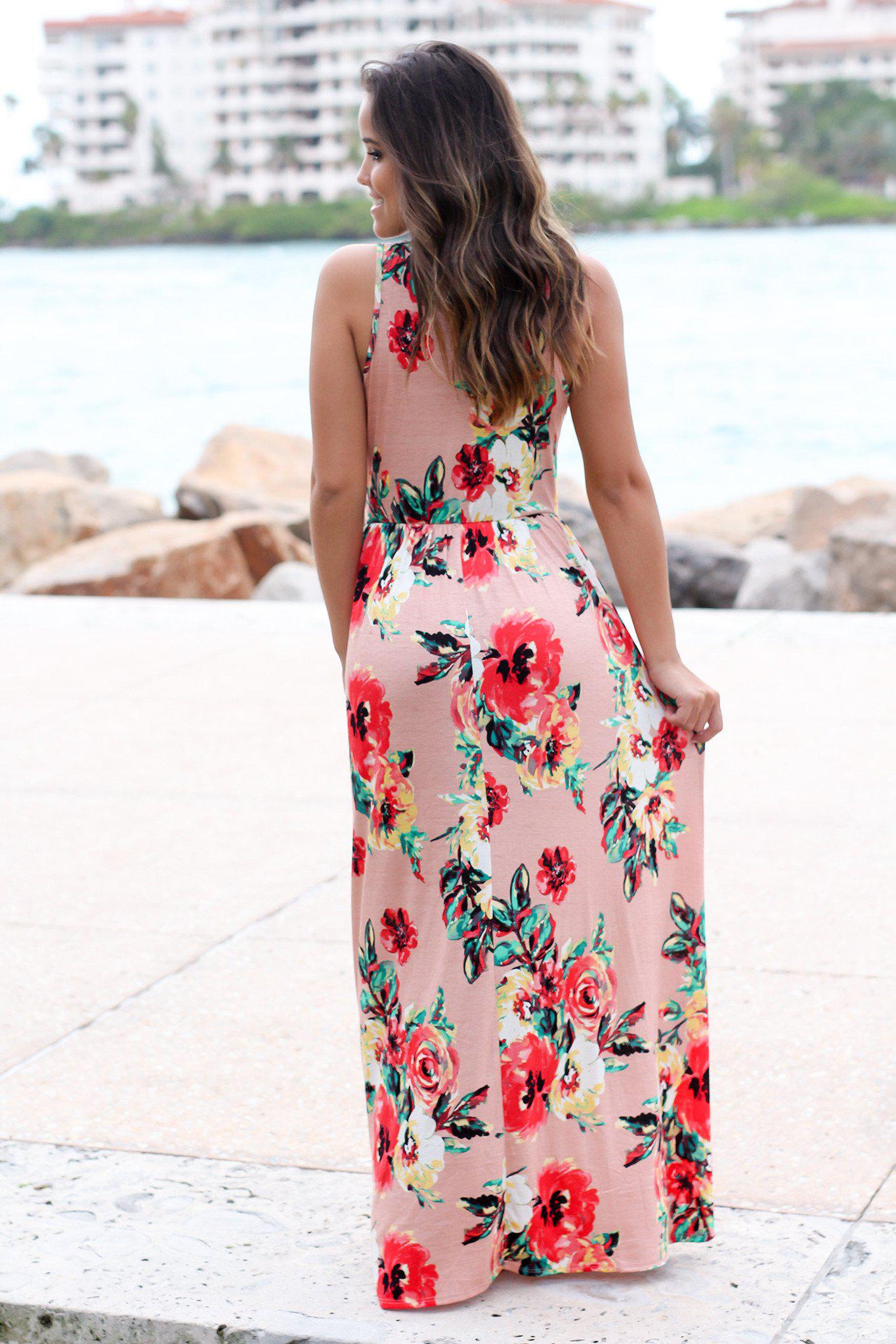 Peach Floral Sleeveless Maxi Dress
