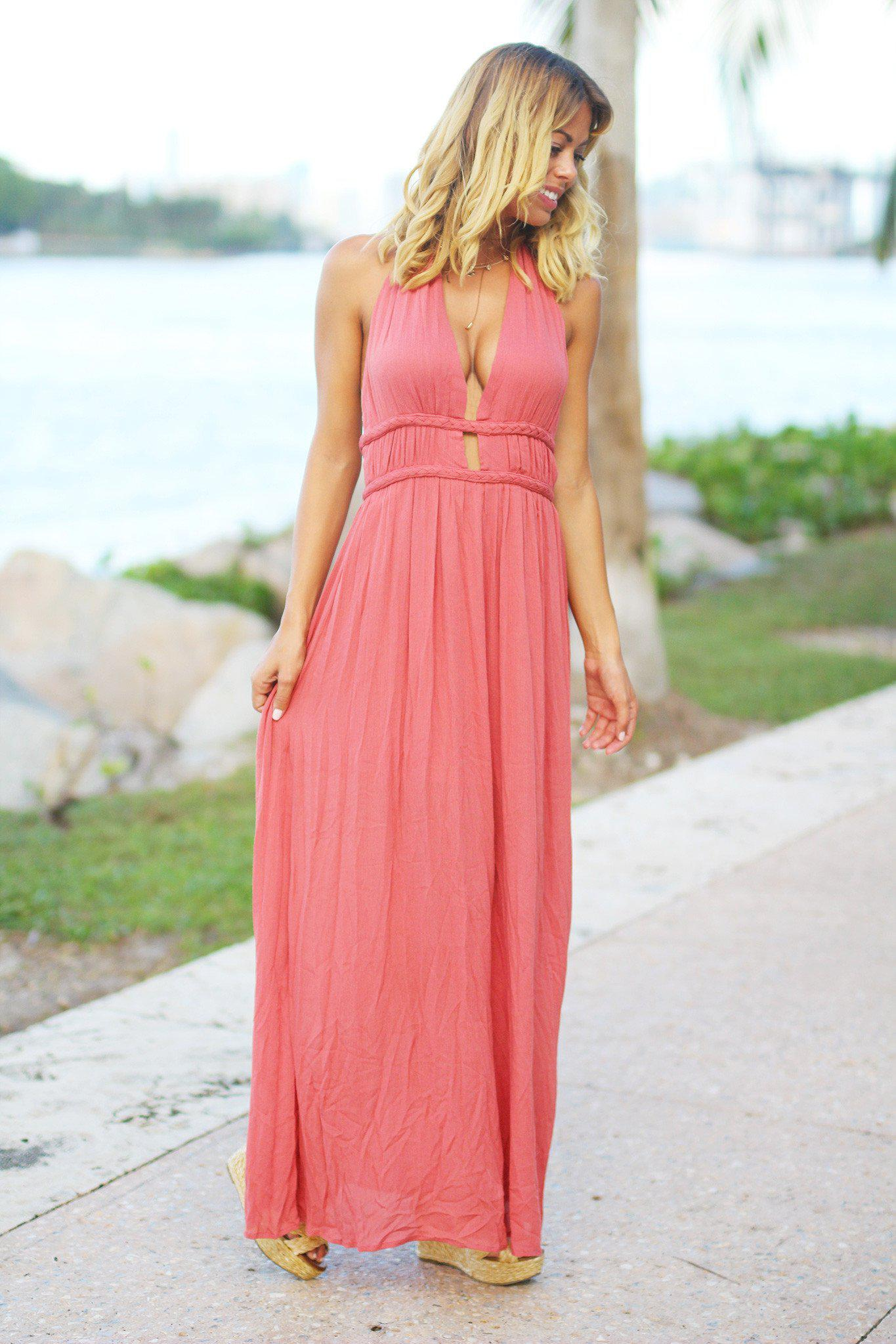 Dusty Coral Halter Maxi Dress