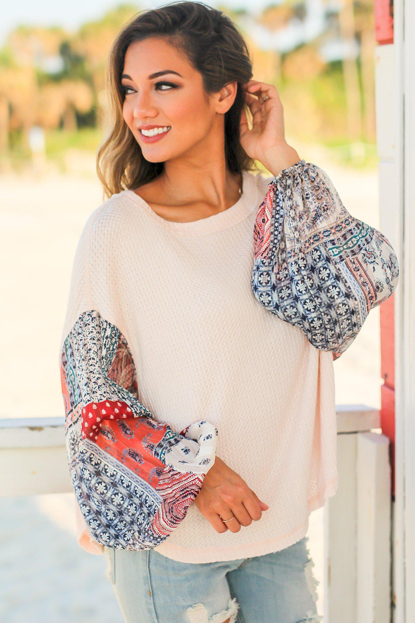Peach Knit Top with Printed Sleeves