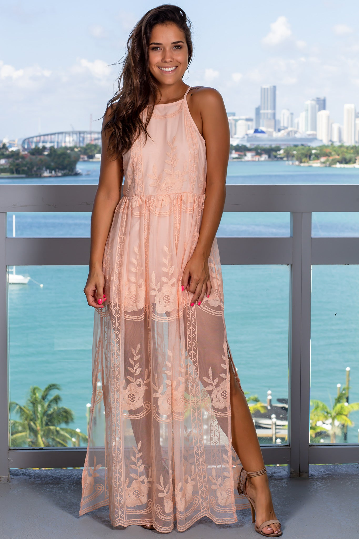 Peach Lace Maxi Romper with Slits