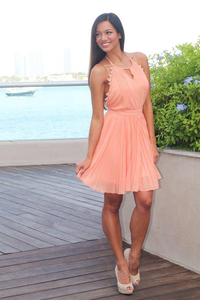Peach Pleated Dress with Open Back