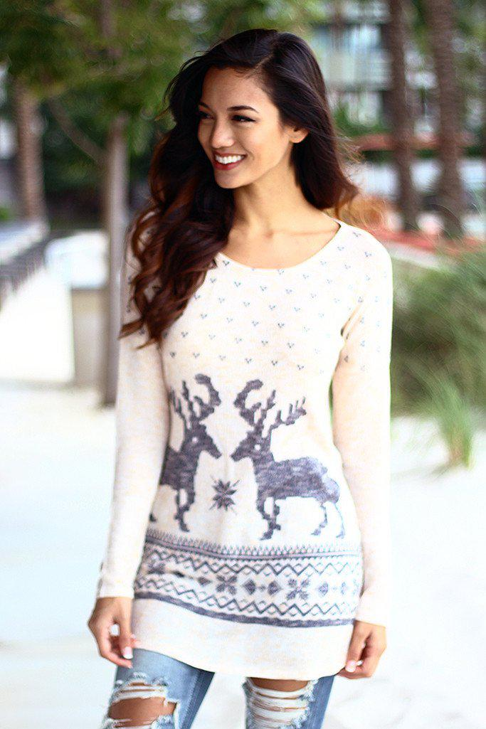 Peach Reindeer Top With Elbow Patches