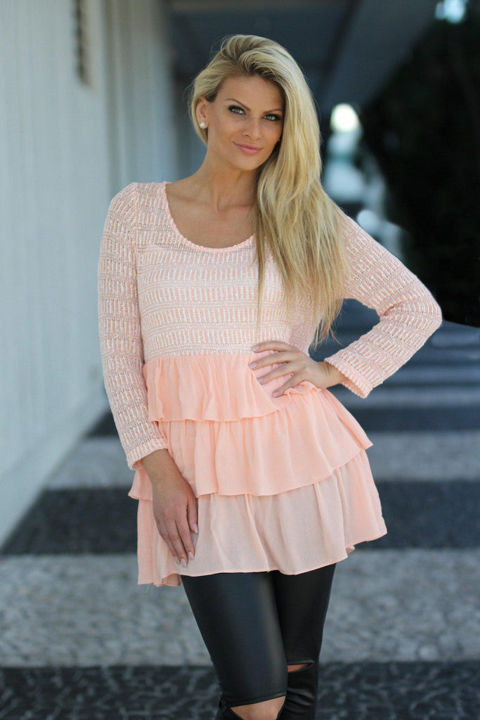 peach long sleeve top