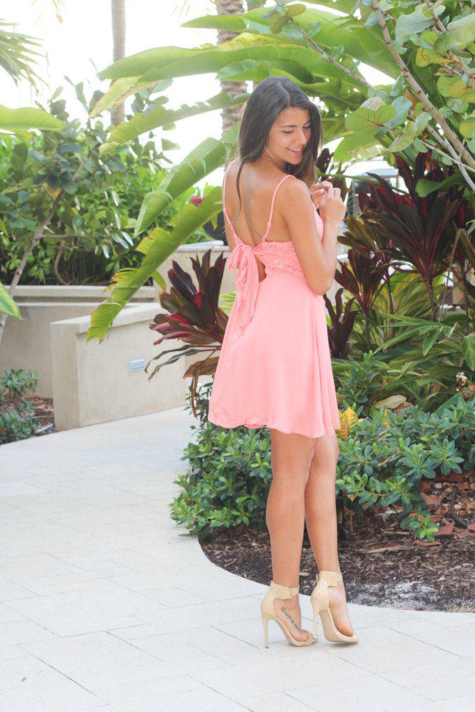 Peach Short Dress With Back Bow