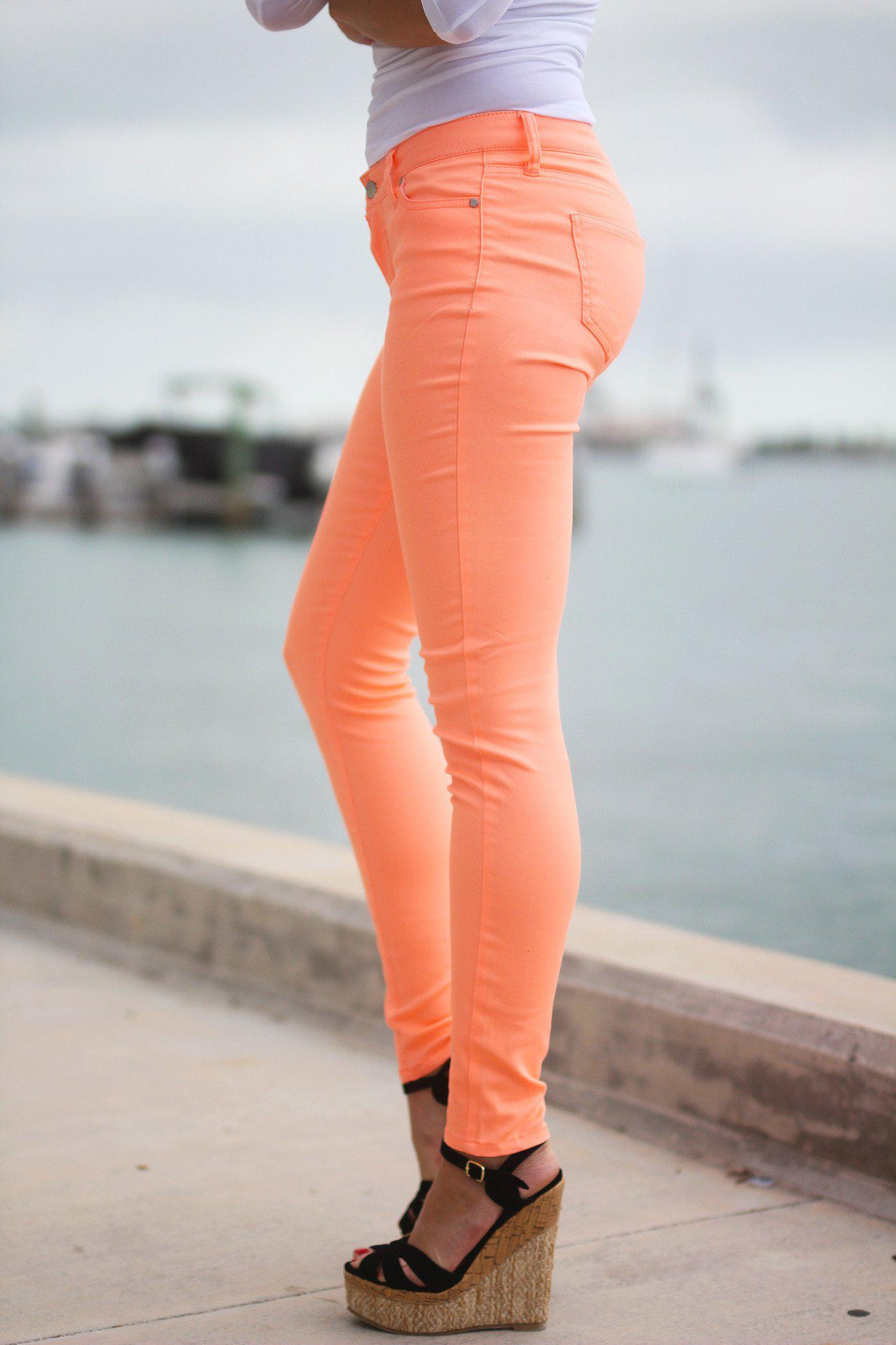 Neon Peach Skinny Jeans