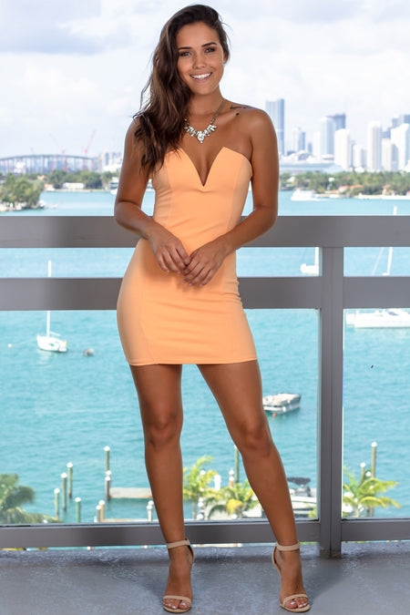 Peach Strapless Short Dress