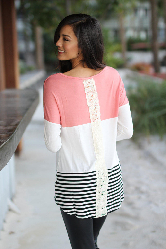 color block top with crochet detail