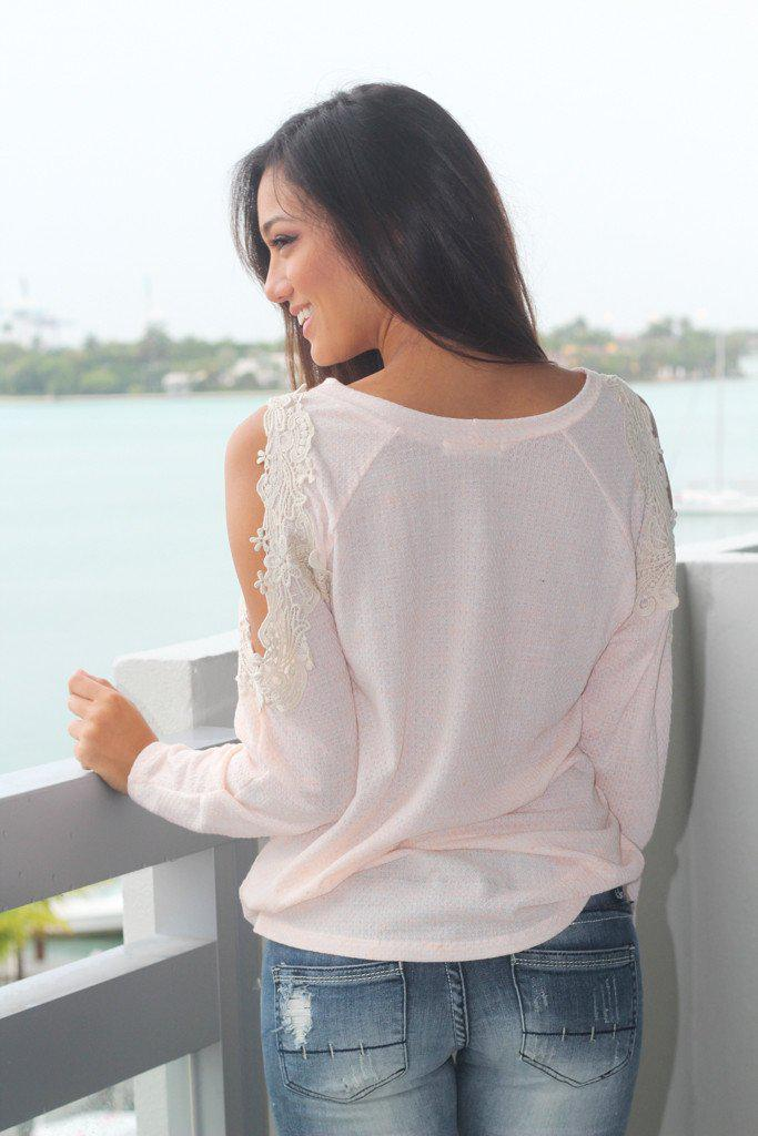 Peach Top With Open Crochet Shoulders