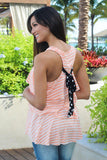 Peach Ruffle Top with Back Bow