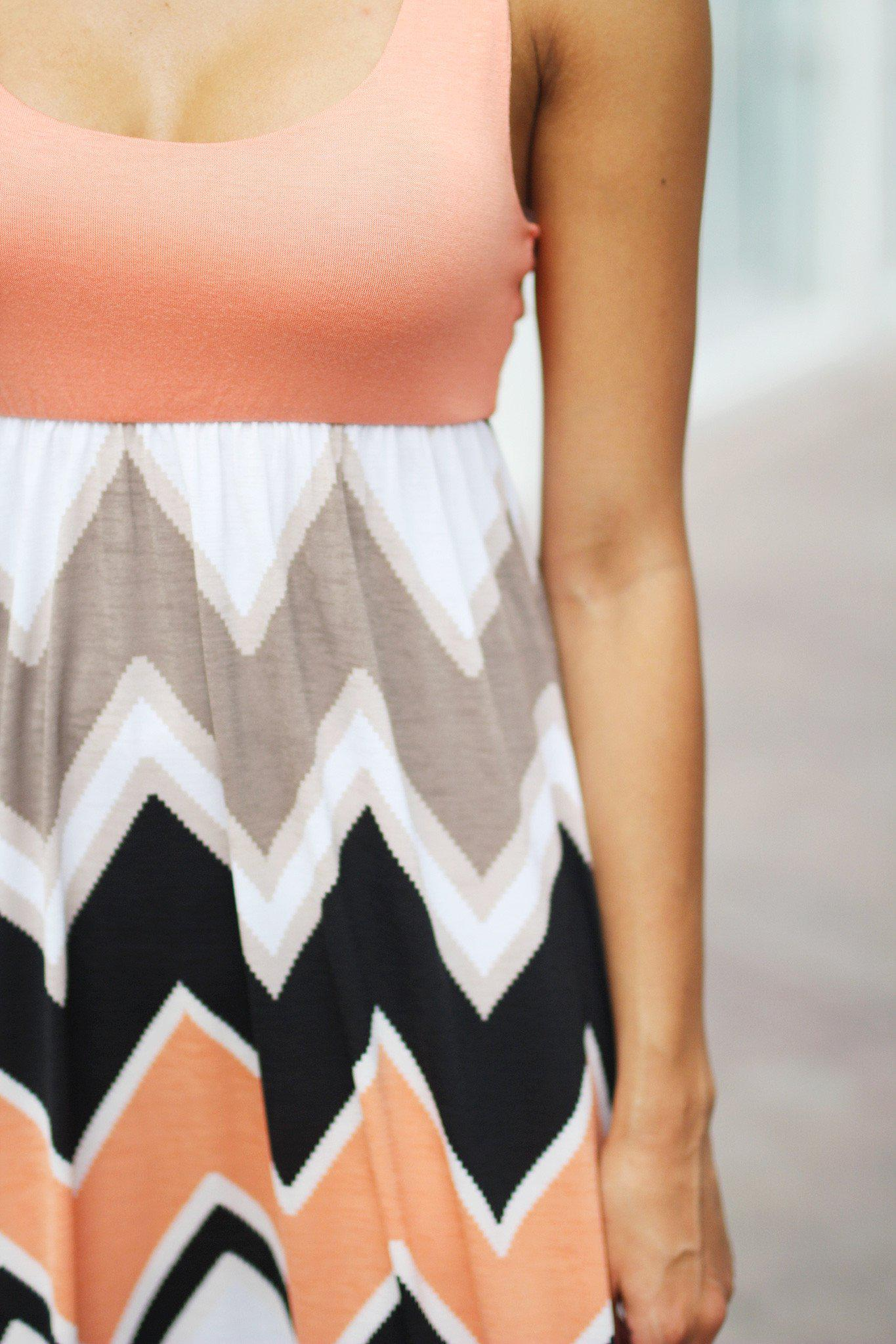 Peach and Black Chevron Maxi Dress