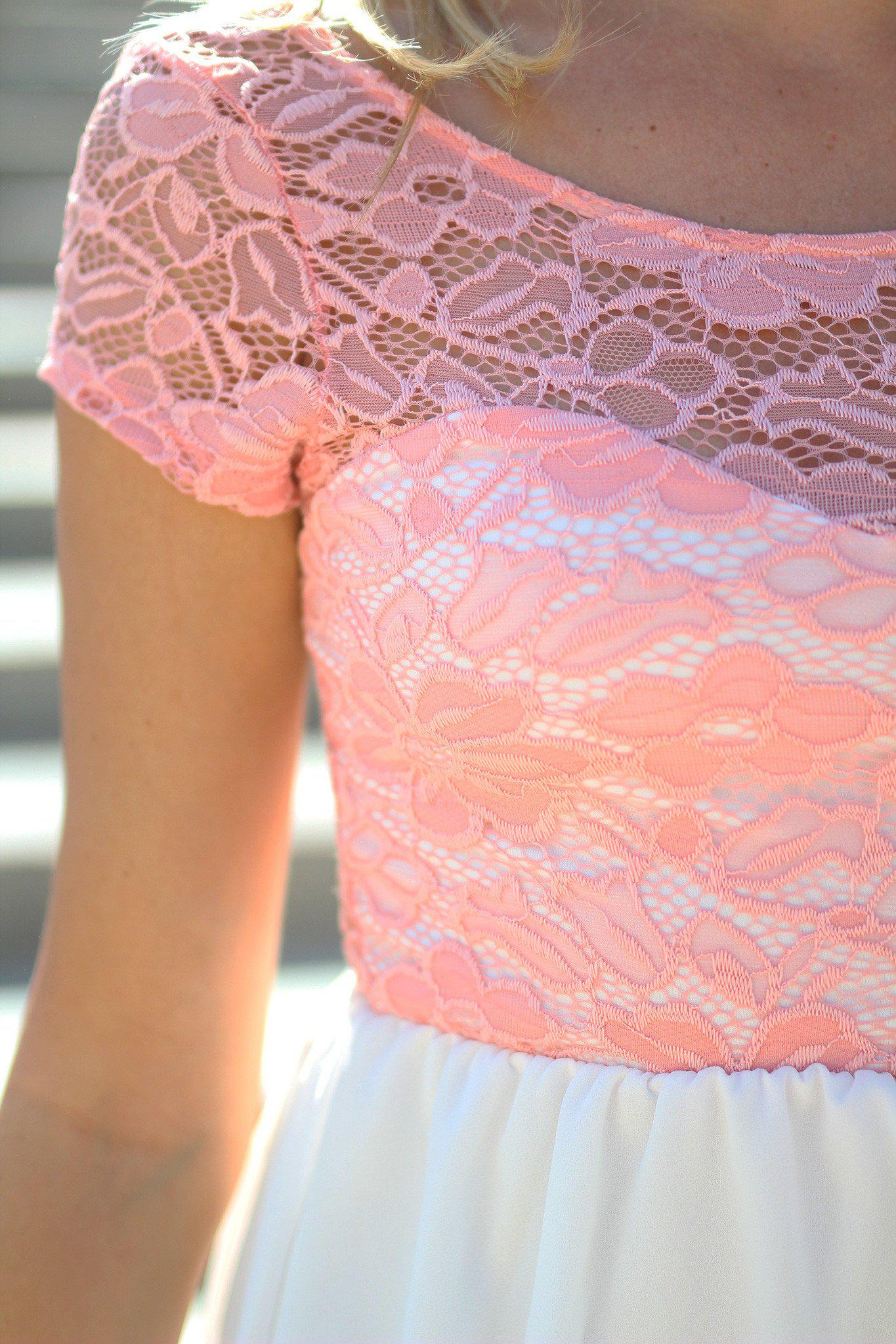 Peach and Ivory Short Dress with Lace Top