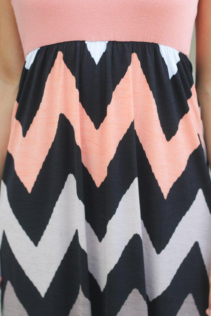 Peach and Taupe Chevron Dress
