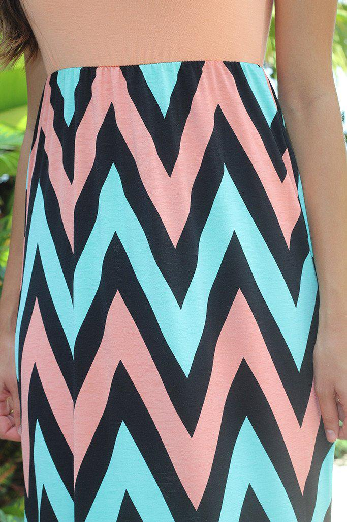 Peach and Mint Chevron Maxi Dress