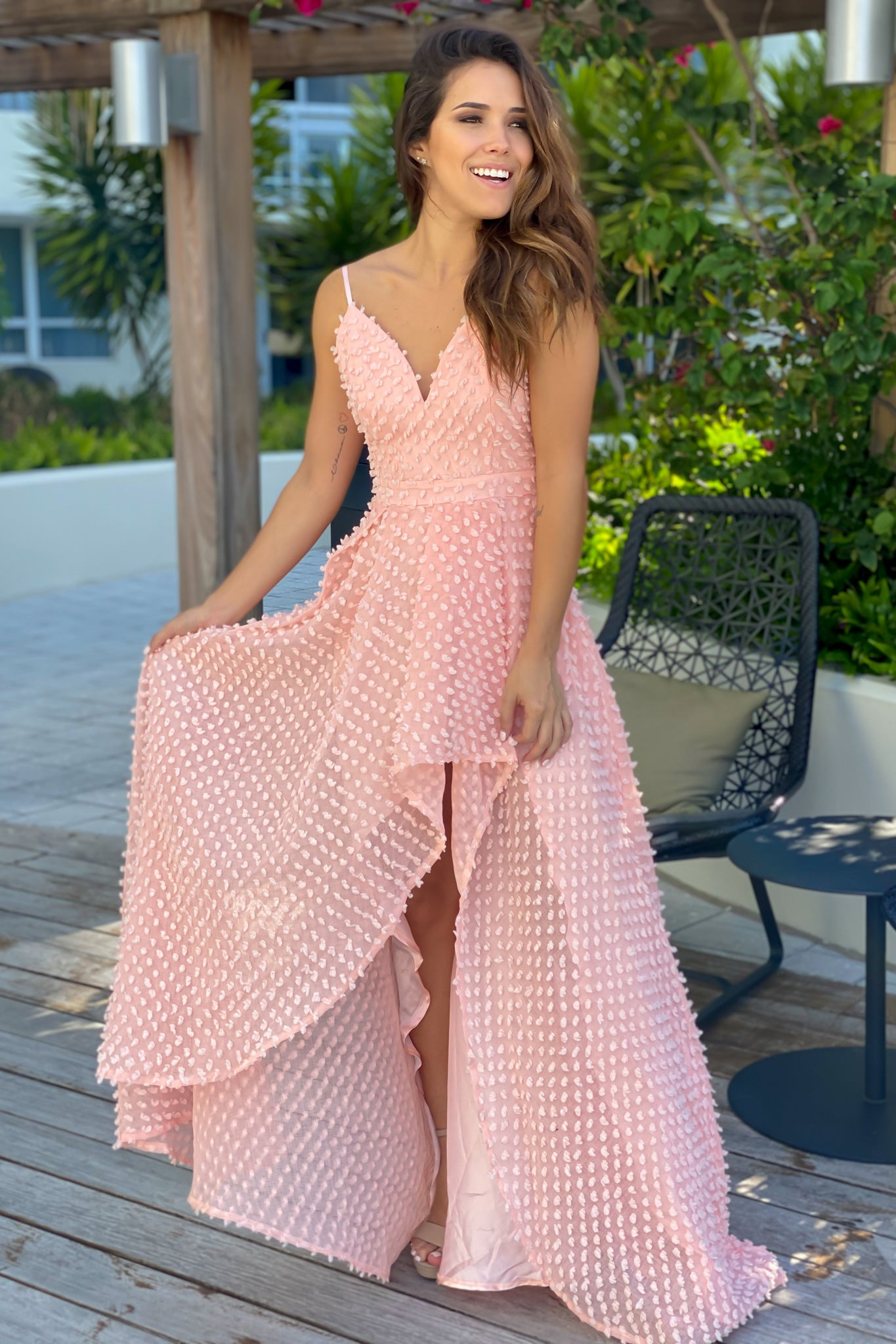 Pink High Low Dress with Embellishments
