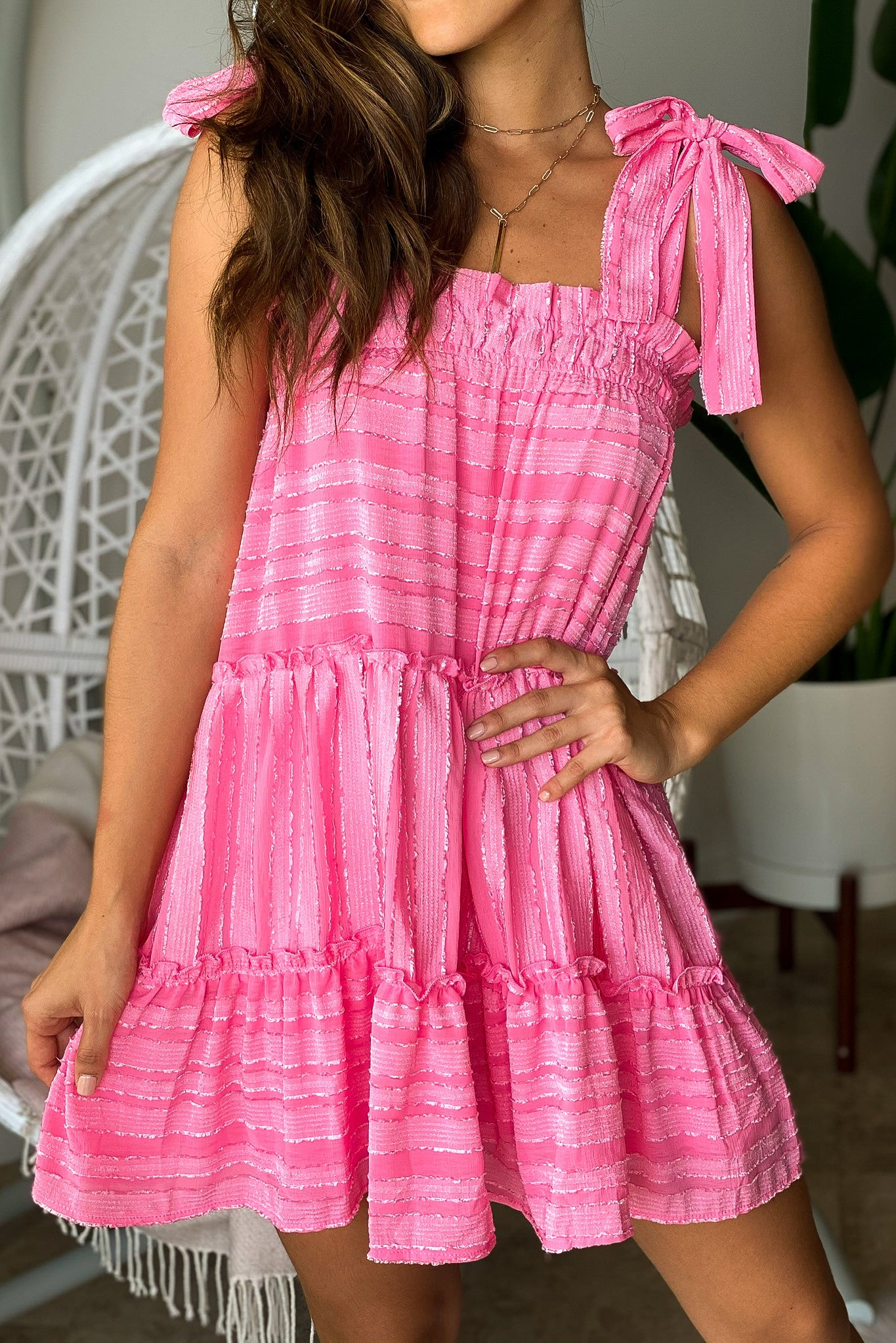 Pink Striped Short Dress with Ruffle Detail