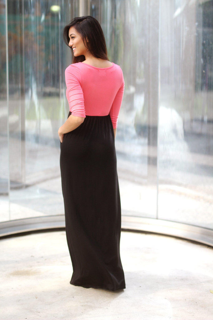 pink and black casual dress