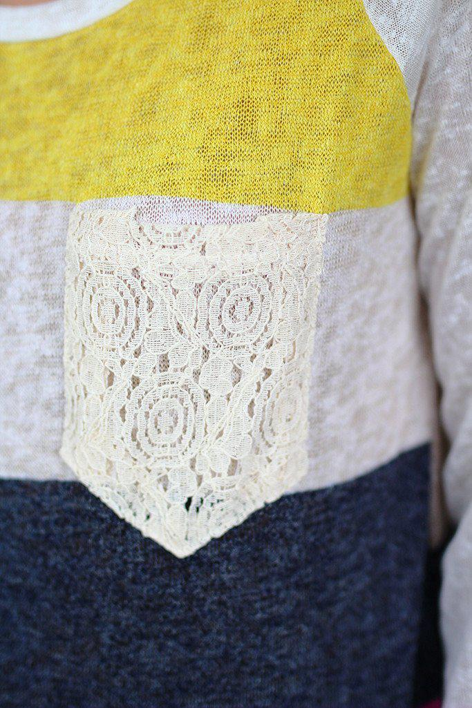 Pink And Yellow Color Block Top With Crochet Pocket