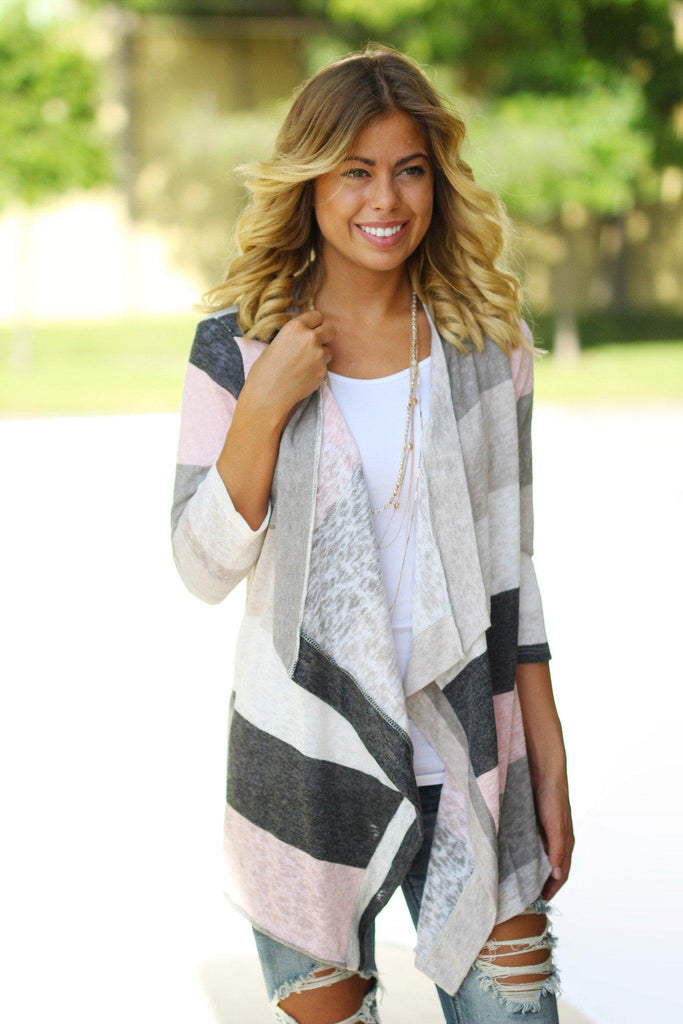 pink and ivory cardigan