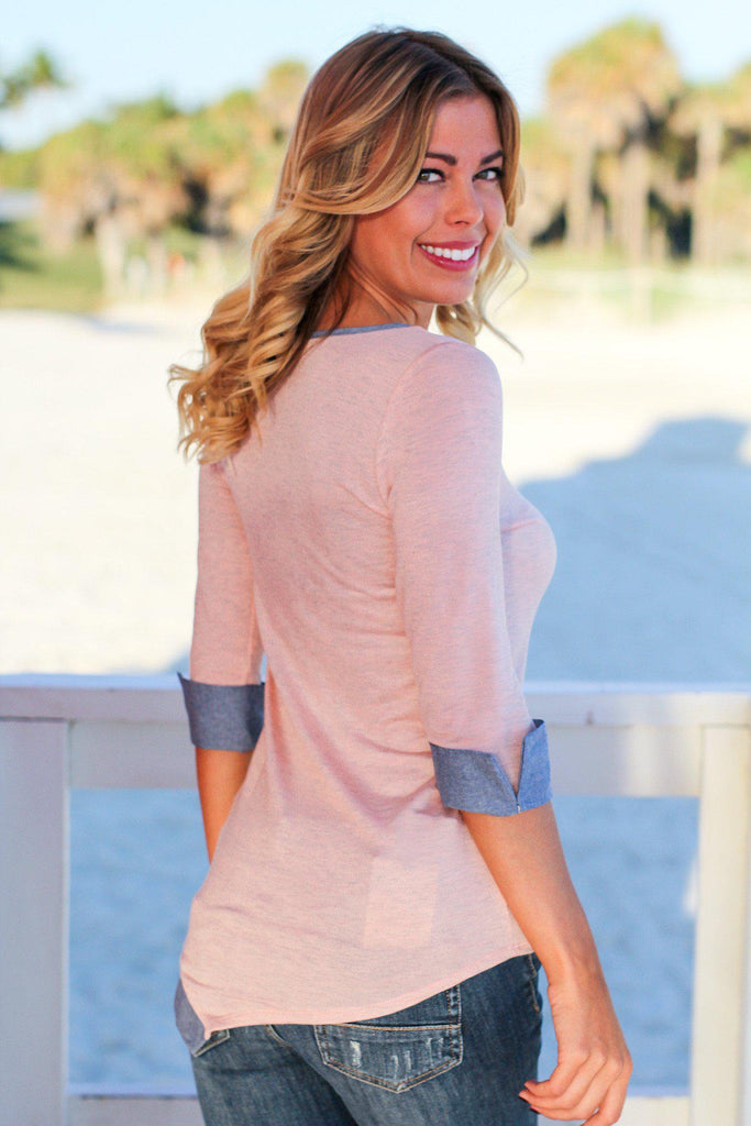 Pink Asymmetrical Top with Buttons