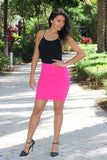 Pink Bodycon Ruffle Skirt