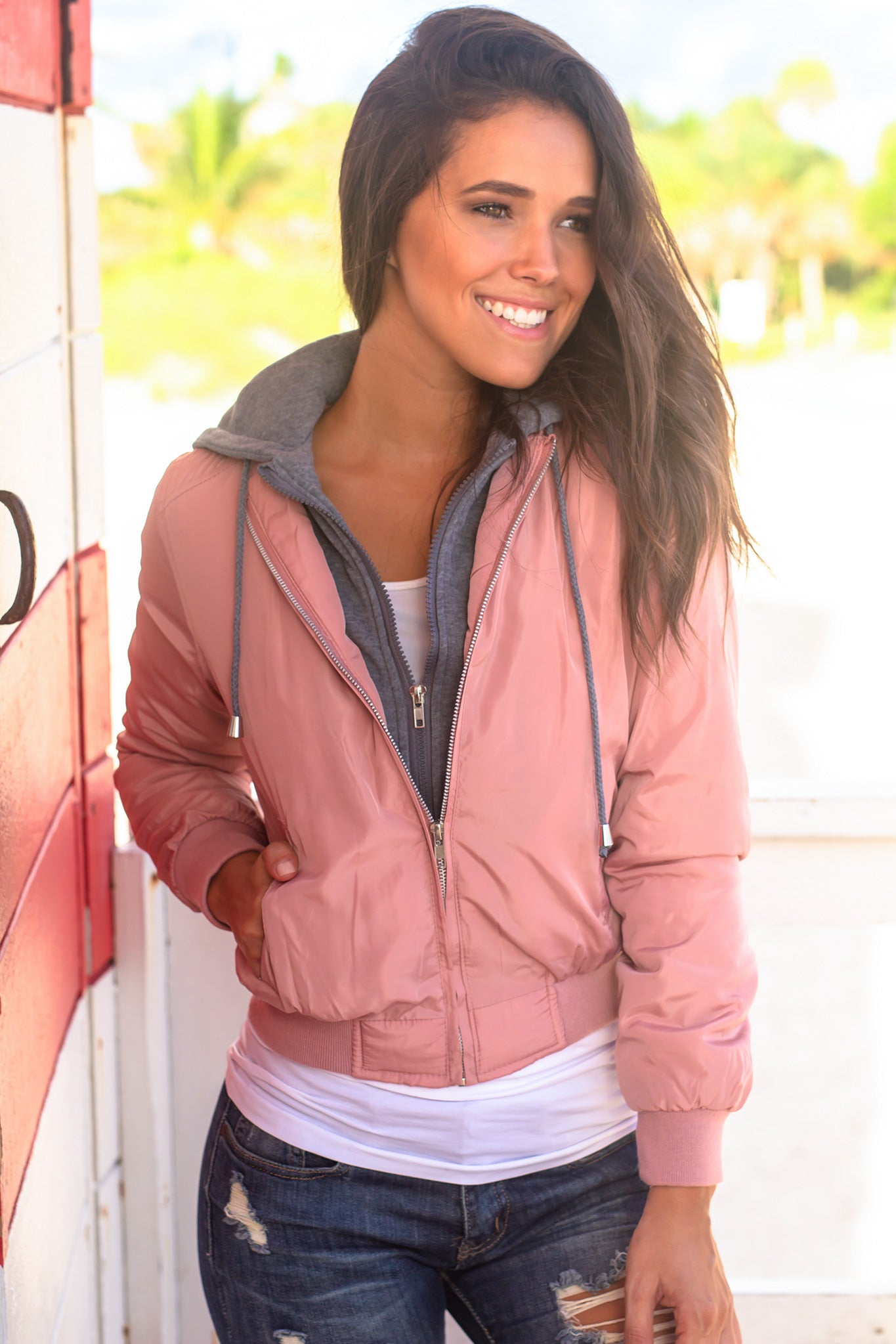 Pink Bomber Jacket with Gray Hood