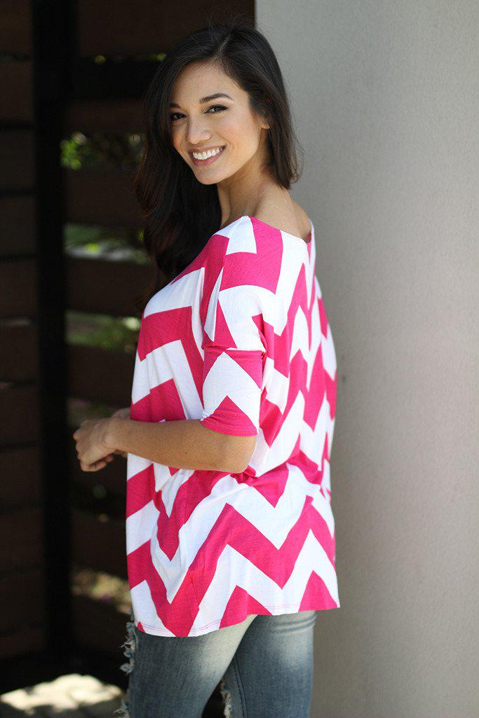 Hot Pink Chevron Top