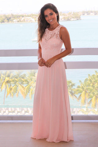 Pink Chiffon Maxi Dress with Lace Top