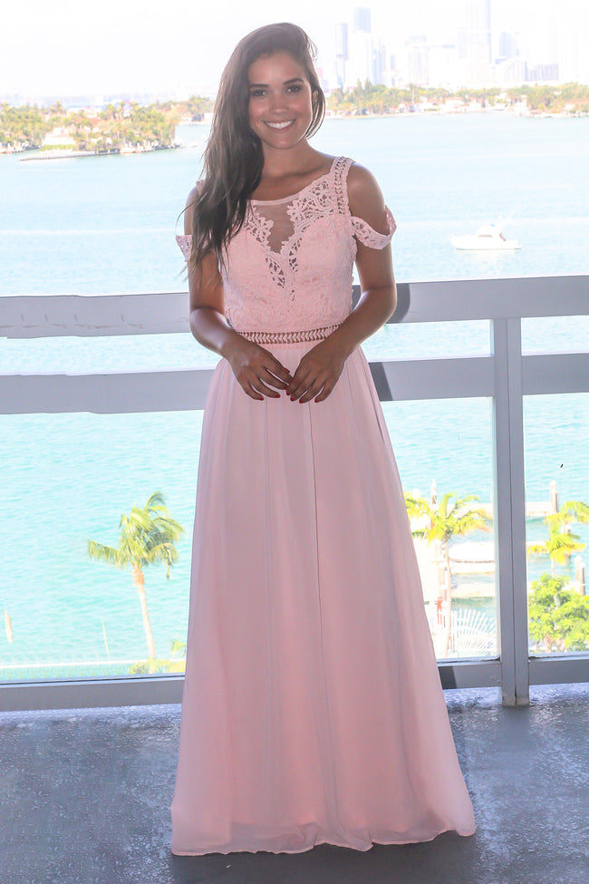 Pink Cold Shoulder Maxi Dress with Crochet Top