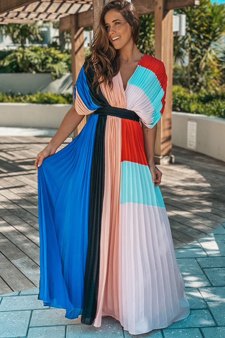 Pink Color Block Maxi Dress