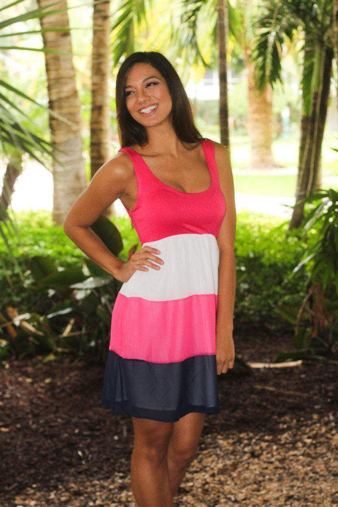 Hot Pink Color Block Short Dress