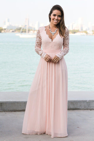 Pink Crochet Maxi Dress with Open Back