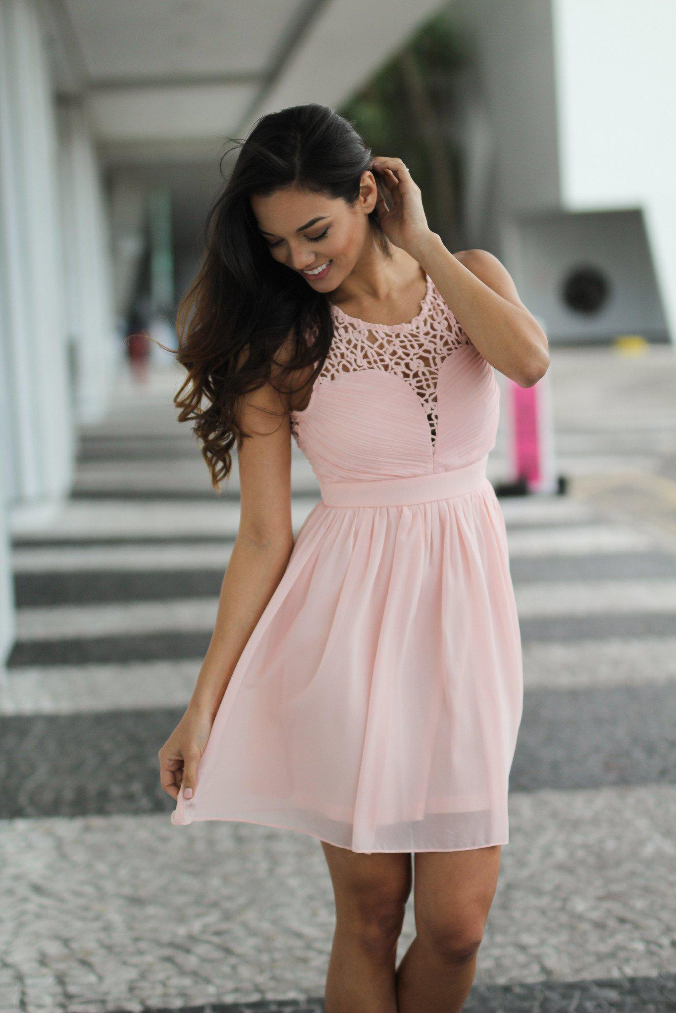 Pink Crochet Short Dress